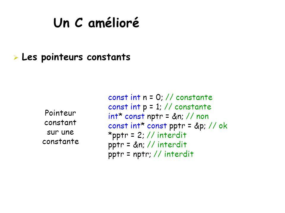 Un C amélioré  Les pointeurs constants const int n = 0; // constante const int p = 1; // constante int* const nptr = &n; // non const int* const pptr