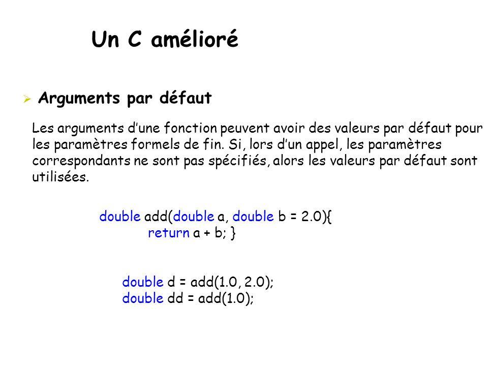 Un C amélioré  Arguments par défaut double add(double a, double b = 2.0){ return a + b; } double d = add(1.0, 2.0); double dd = add(1.0); Les argumen
