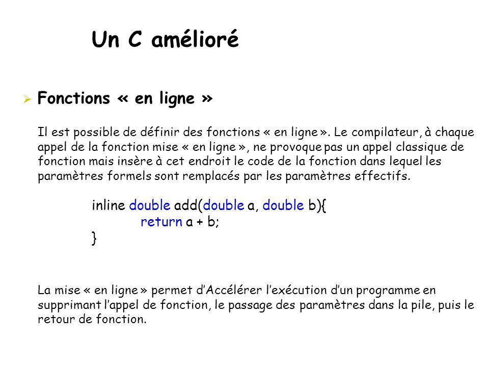 Un C amélioré  Fonctions « en ligne » inline double add(double a, double b){ return a + b; } Il est possible de définir des fonctions « en ligne ». L