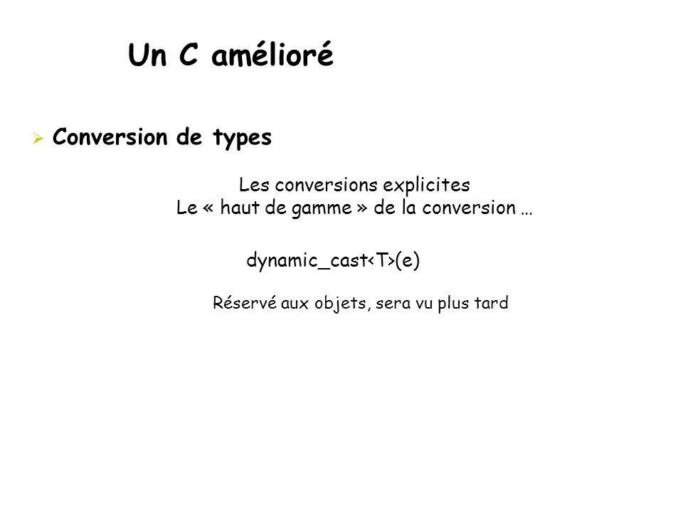 Un C amélioré  Conversion de types Les conversions explicites Le « haut de gamme » de la conversion … dynamic_cast (e) Réservé aux objets, sera vu pl