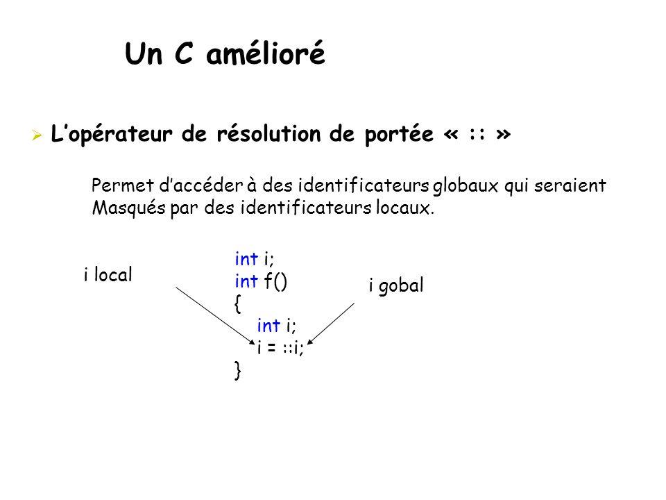 Un C amélioré  L'opérateur de résolution de portée « :: » Permet d'accéder à des identificateurs globaux qui seraient Masqués par des identificateurs