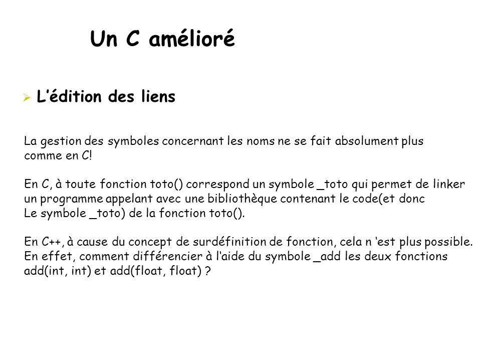 Un C amélioré  L'édition des liens La gestion des symboles concernant les noms ne se fait absolument plus comme en C! En C, à toute fonction toto() c