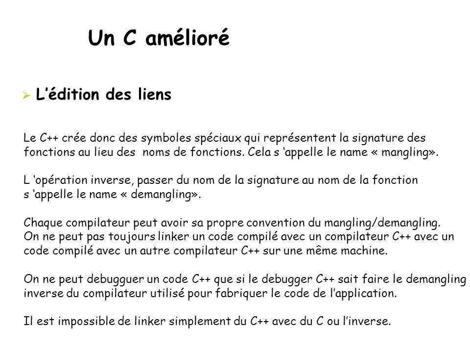Un C amélioré  L'édition des liens Le C++ crée donc des symboles spéciaux qui représentent la signature des fonctions au lieu des noms de fonctions.