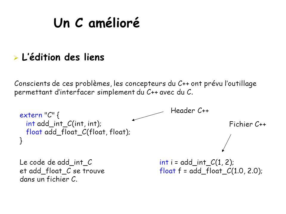 Un C amélioré  L'édition des liens Conscients de ces problèmes, les concepteurs du C++ ont prévu l'outillage permettant d'interfacer simplement du C+