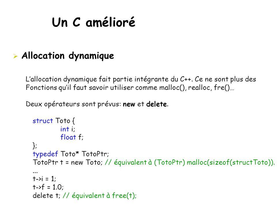 Un C amélioré  Allocation dynamique L'allocation dynamique fait partie intégrante du C++. Ce ne sont plus des Fonctions qu'il faut savoir utiliser co