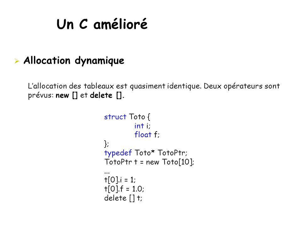 Un C amélioré  Allocation dynamique L'allocation des tableaux est quasiment identique. Deux opérateurs sont prévus: new [] et delete []. struct Toto