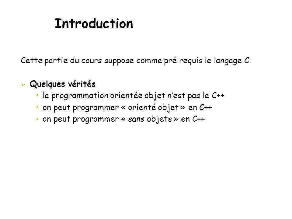 Introduction Cette partie du cours suppose comme pré requis le langage C.  Quelques vérités • la programmation orientée objet n'est pas le C++ • on p