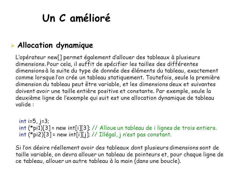 Un C amélioré  Allocation dynamique L'opérateur new[] permet également d'allouer des tableaux à plusieurs dimensions. Pour cela, il suffit de spécifi