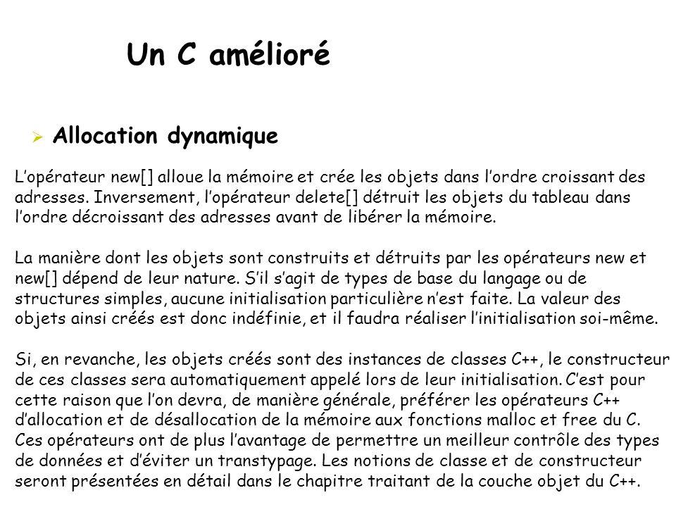 Un C amélioré  Allocation dynamique L'opérateur new[] alloue la mémoire et crée les objets dans l'ordre croissant des adresses. Inversement, l'opérat