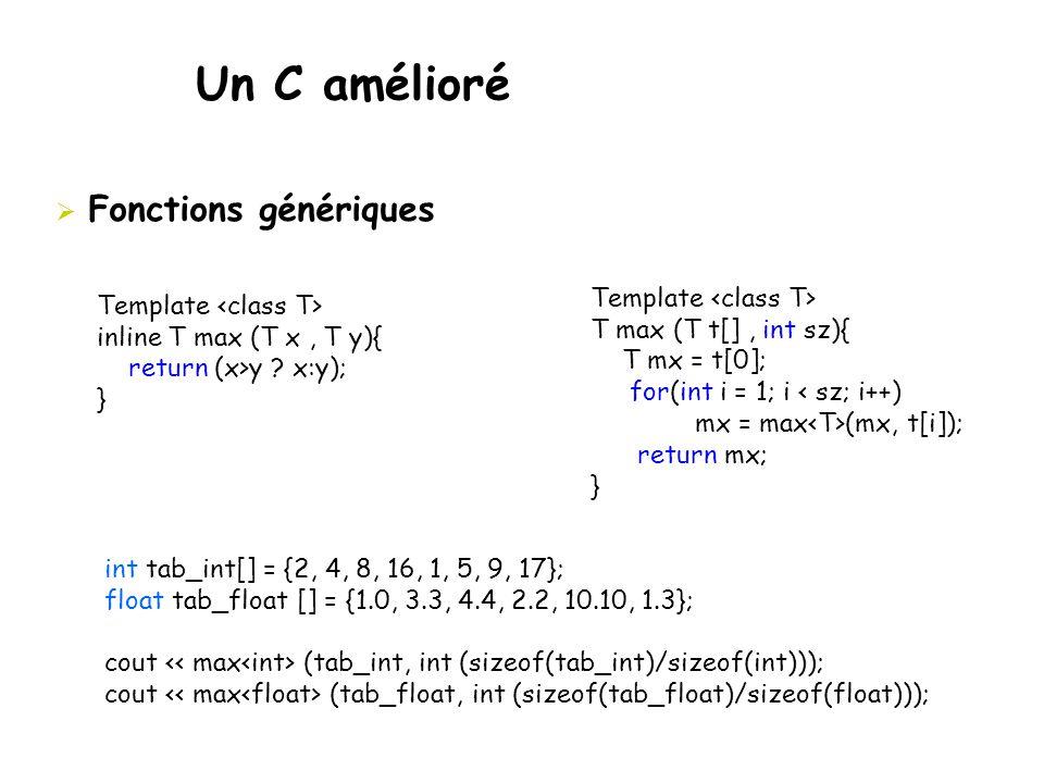 Un C amélioré  Fonctions génériques Template inline T max (T x, T y){ return (x>y ? x:y); } Template T max (T t[], int sz){ T mx = t[0]; for(int i =