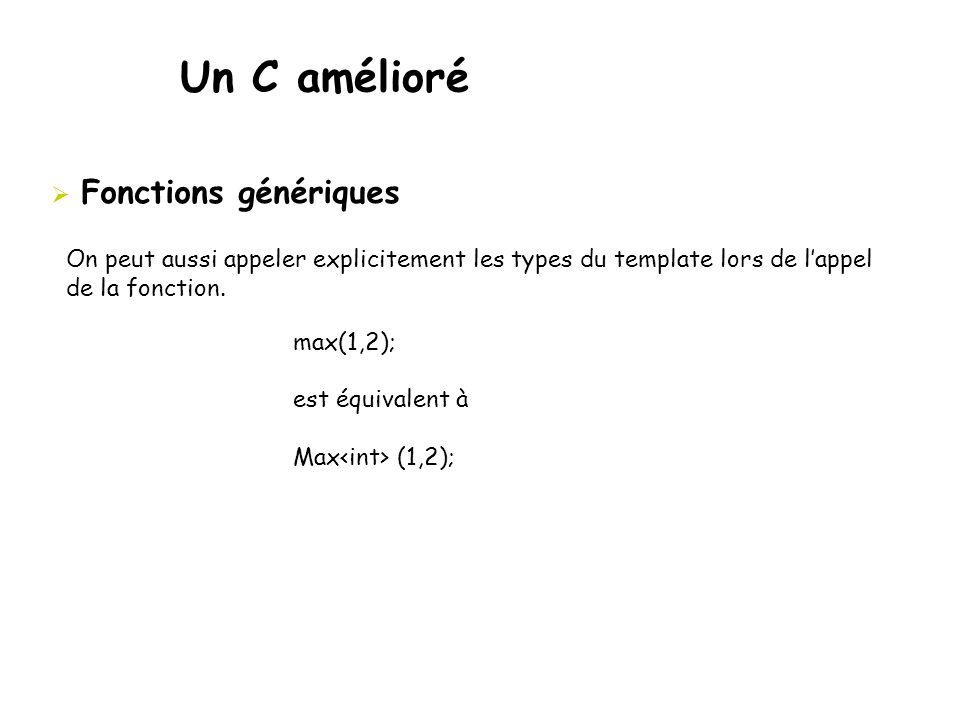 Un C amélioré  Fonctions génériques max(1,2); est équivalent à Max (1,2); On peut aussi appeler explicitement les types du template lors de l'appel d