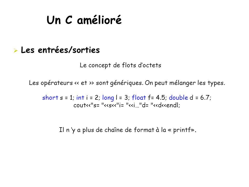 Un C amélioré  Les entrées/sorties Les opérateurs > sont génériques. On peut mélanger les types. short s = 1; int i = 2; long l = 3; float f= 4.5; do