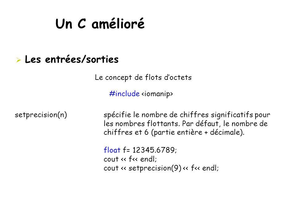 Un C amélioré  Les entrées/sorties Le concept de flots d'octets #include setprecision(n) spécifiele nombre de chiffres significatifs pour les nombres