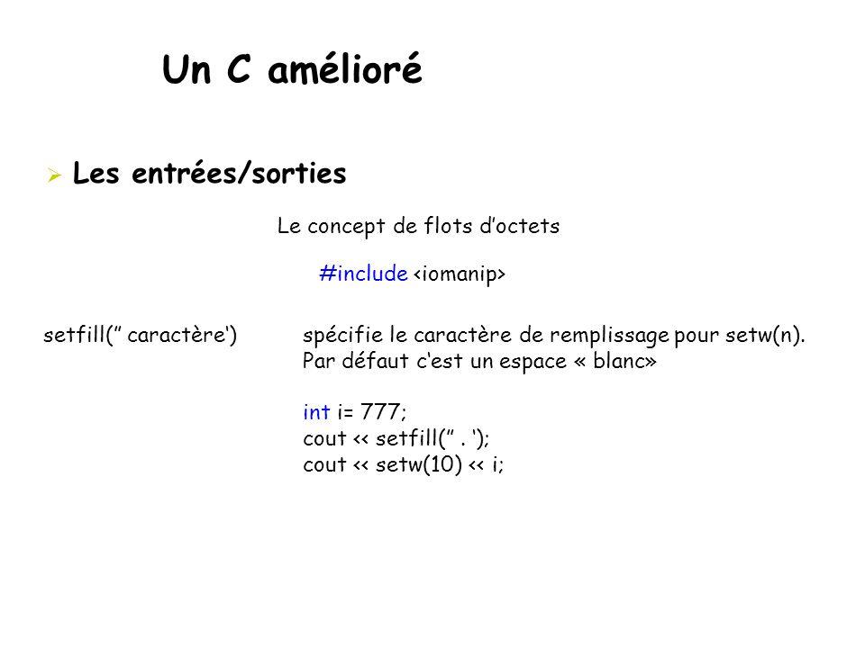 """Un C amélioré  Les entrées/sorties Le concept de flots d'octets #include setfill("""" caractère') spécifie le caractère de remplissage pour setw(n). Par"""