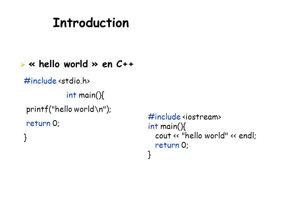 Introduction  « hello world » en C++ #include int main(){ printf(
