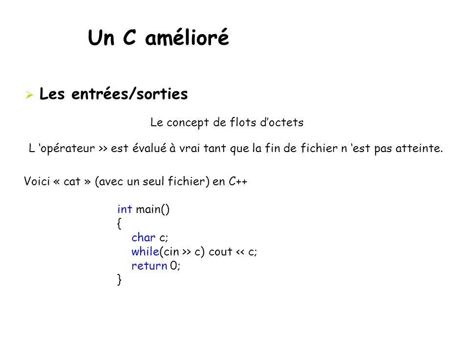 Un C amélioré  Les entrées/sorties Le concept de flots d'octets L 'opérateur >> est évalué à vrai tant que la fin de fichier n 'est pas atteinte. Voi