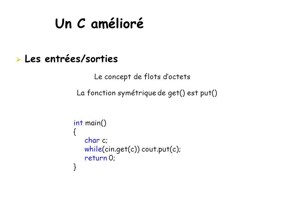 Un C amélioré  Les entrées/sorties Le concept de flots d'octets La fonction symétrique de get() est put() int main() { char c; while(cin.get(c)) cout
