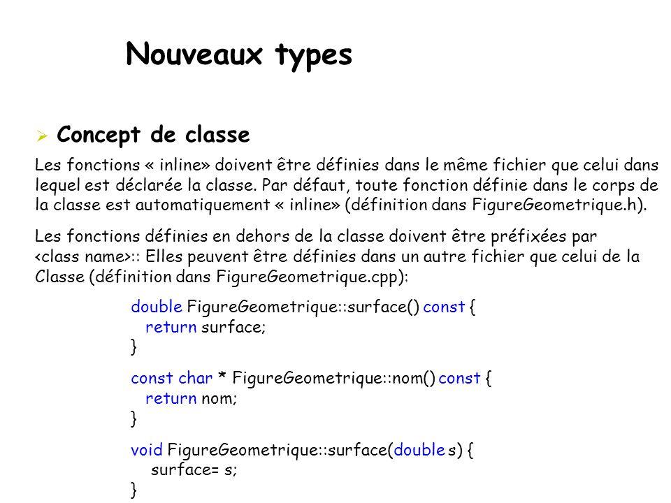 Nouveaux types  Concept de classe Les fonctions « inline» doivent être définies dans le même fichier que celui dans lequel est déclarée la classe. Pa