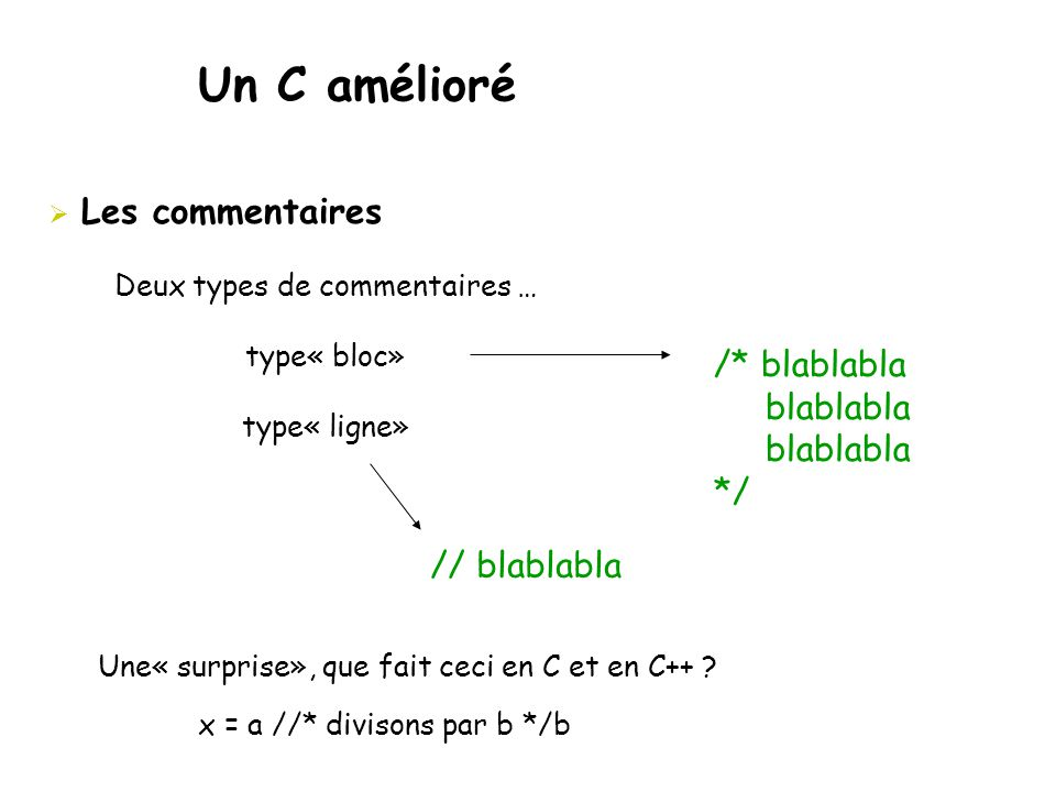 Un C amélioré  Les commentaires Deux types de commentaires … type« bloc» type« ligne» /* blablabla blablabla */ // blablabla Une« surprise», que fait