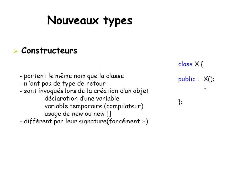  Constructeurs - portent le même nom que la classe - n 'ont pas de type de retour - sont invoqués lors de la création d'un objet déclaration d'une va