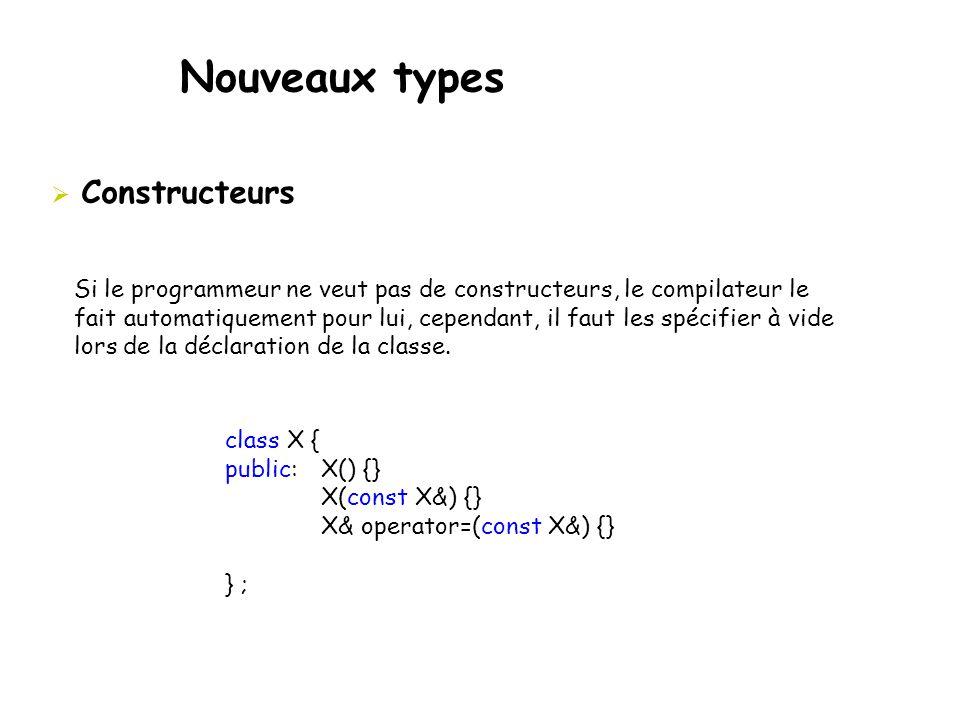 Nouveaux types  Constructeurs Si le programmeur ne veut pas de constructeurs, le compilateur le fait automatiquement pour lui, cependant, il faut les