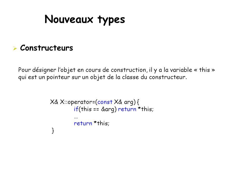 Nouveaux types  Constructeurs Pour désigner l'objet en cours de construction, il y a la variable « this » qui est un pointeur sur un objet de la clas