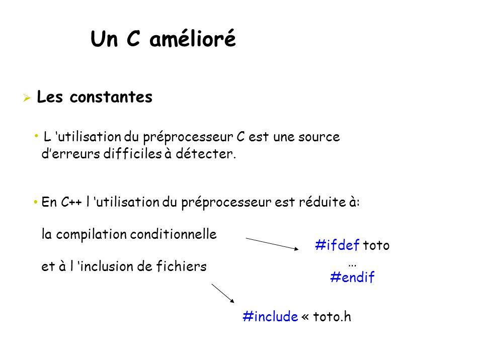 Un C amélioré  Les constantes • L 'utilisation du préprocesseur C est une source d'erreurs difficiles à détecter. • En C++ l 'utilisation du préproce