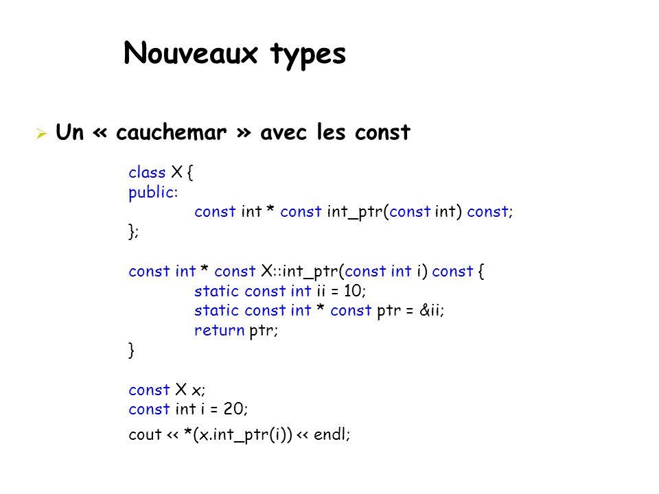 Nouveaux types  Un « cauchemar » avec les const class X { public: const int * const int_ptr(const int) const; }; const int * const X::int_ptr(const i