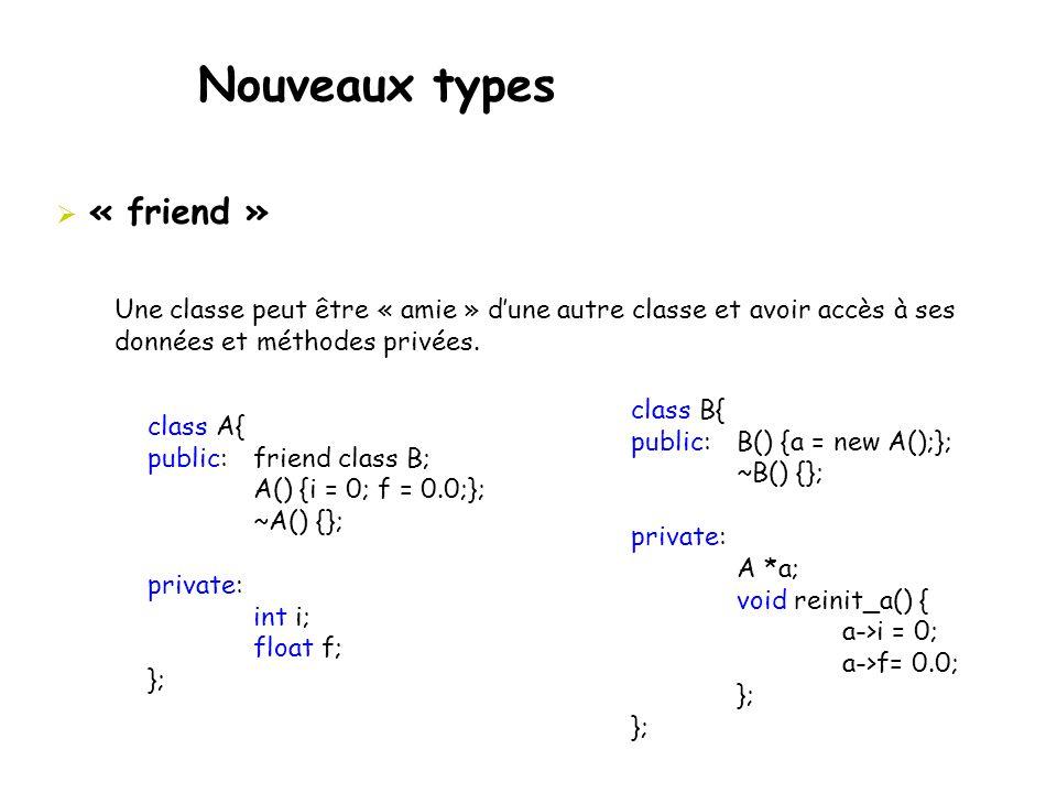 Nouveaux types  « friend » class B{ public:B() {a = new A();}; ~B() {}; private: A *a; void reinit_a() { a->i = 0; a->f= 0.0; }; Une classe peut être