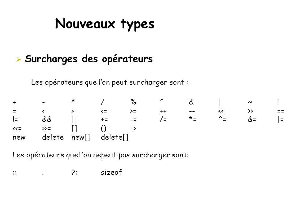 Nouveaux types  Surcharges des opérateurs Les opérateurs que l'on peut surcharger sont : + -* / % ^& |~! = <> =++-- >== != &&||+=-=/=*=^=&=|= >=[]()-