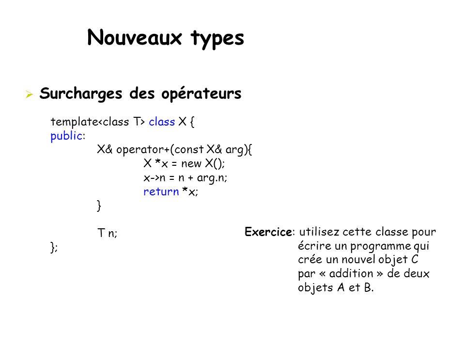 Nouveaux types  Surcharges des opérateurs template class X { public: X& operator+(const X& arg){ X *x = new X(); x->n = n + arg.n; return *x; } T n;