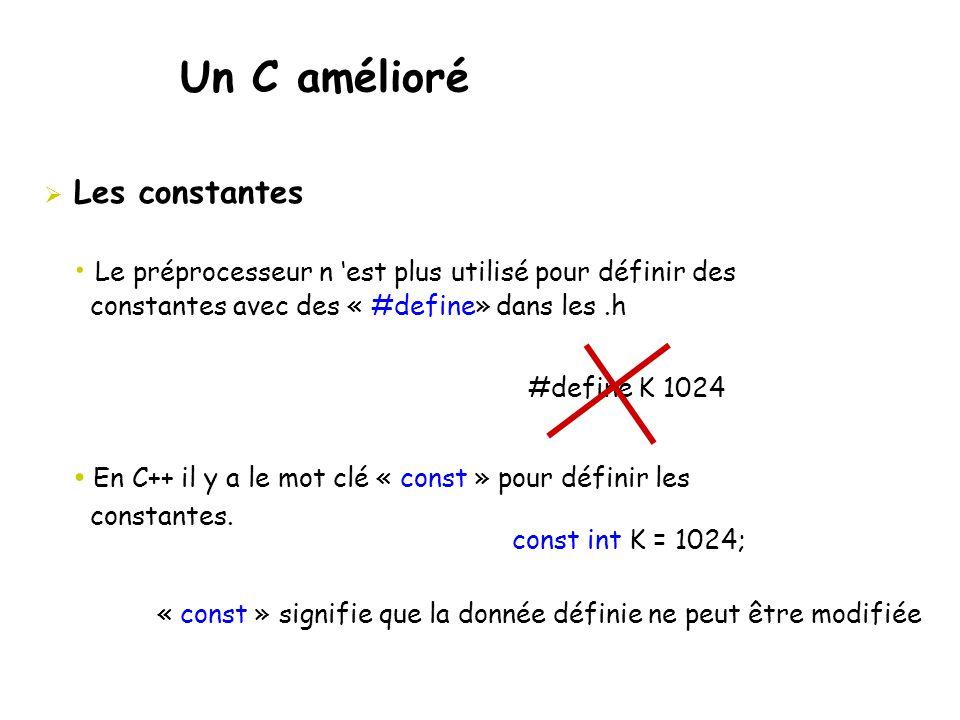 Un C amélioré  Les constantes • Le préprocesseur n 'est plus utilisé pour définir des constantes avec des « #define» dans les.h • En C++ il y a le mo