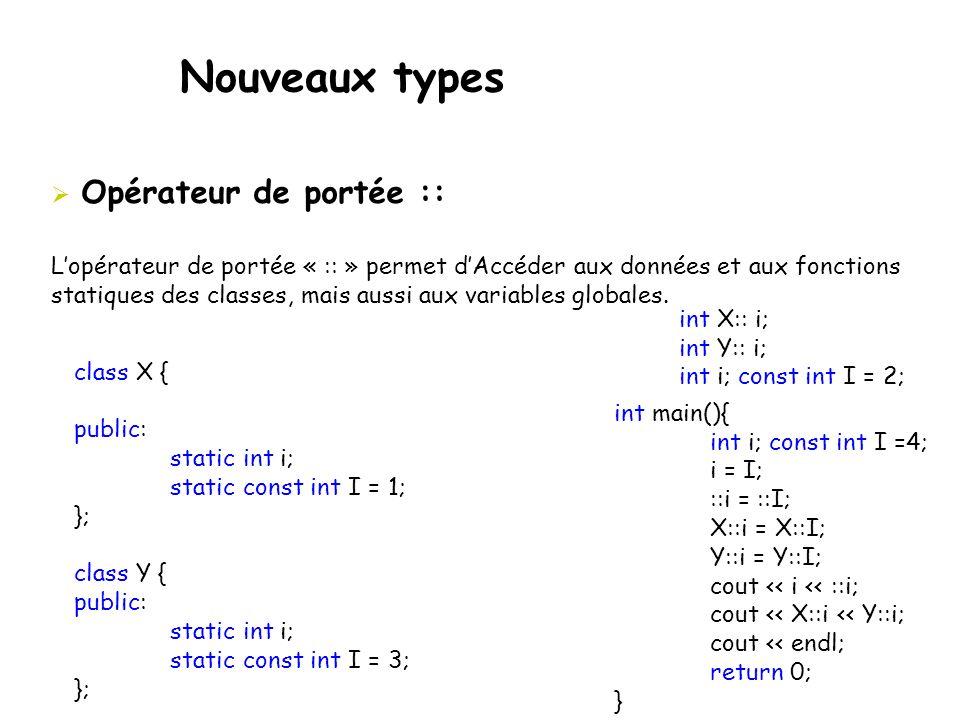 Nouveaux types  Opérateur de portée :: L'opérateur de portée « :: » permet d'Accéder aux données et aux fonctions statiques des classes, mais aussi a