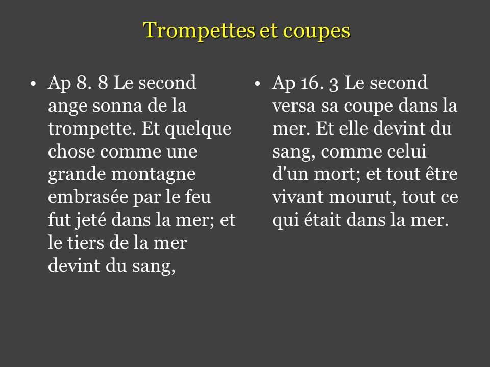 Trompettes et coupes •Ap 8.8 Le second ange sonna de la trompette.