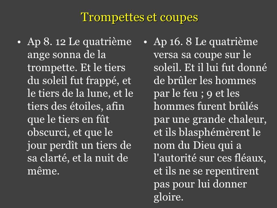 Trompettes et coupes •Ap 8.12 Le quatrième ange sonna de la trompette.