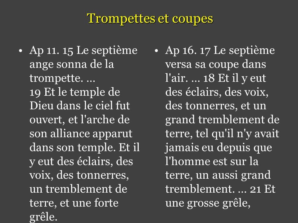 Trompettes et coupes •Ap 11.15 Le septième ange sonna de la trompette.
