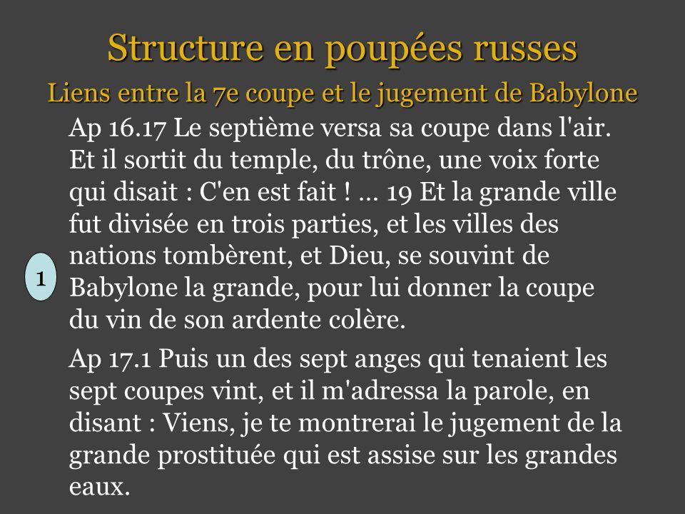 Structure en poupées russes Liens entre la 7e coupe et le jugement de Babylone Ap 16.17 Le septième versa sa coupe dans l air.
