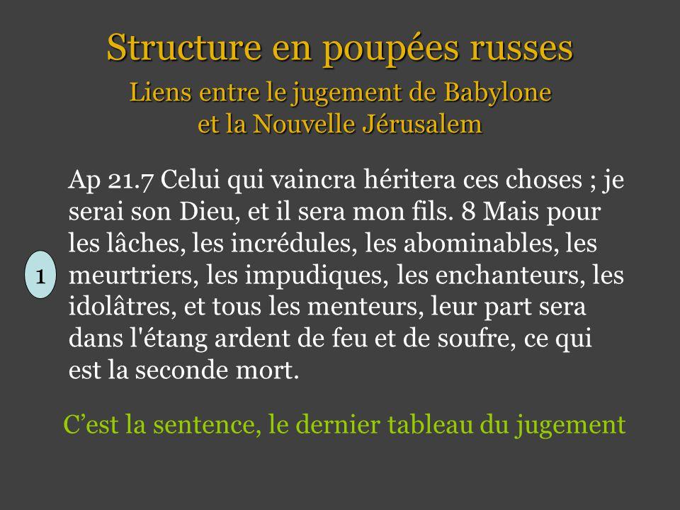 Structure en poupées russes Liens entre le jugement de Babylone et la Nouvelle Jérusalem 1 Ap 21.7 Celui qui vaincra héritera ces choses ; je serai son Dieu, et il sera mon fils.
