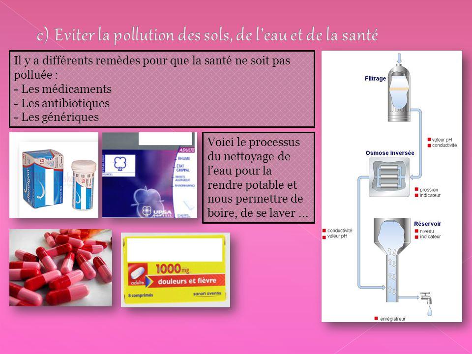 Il y a différents remèdes pour que la santé ne soit pas polluée : - Les médicaments - Les antibiotiques - Les génériques Voici le processus du nettoyage de l'eau pour la rendre potable et nous permettre de boire, de se laver...