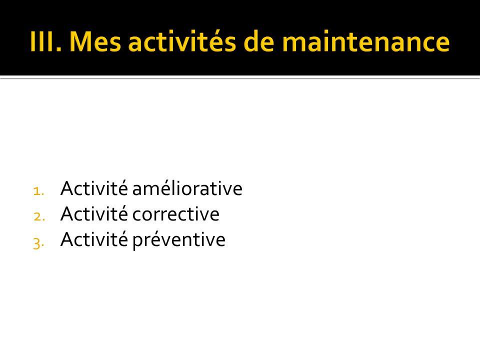 1. Activité améliorative 2. Activité corrective 3. Activité préventive