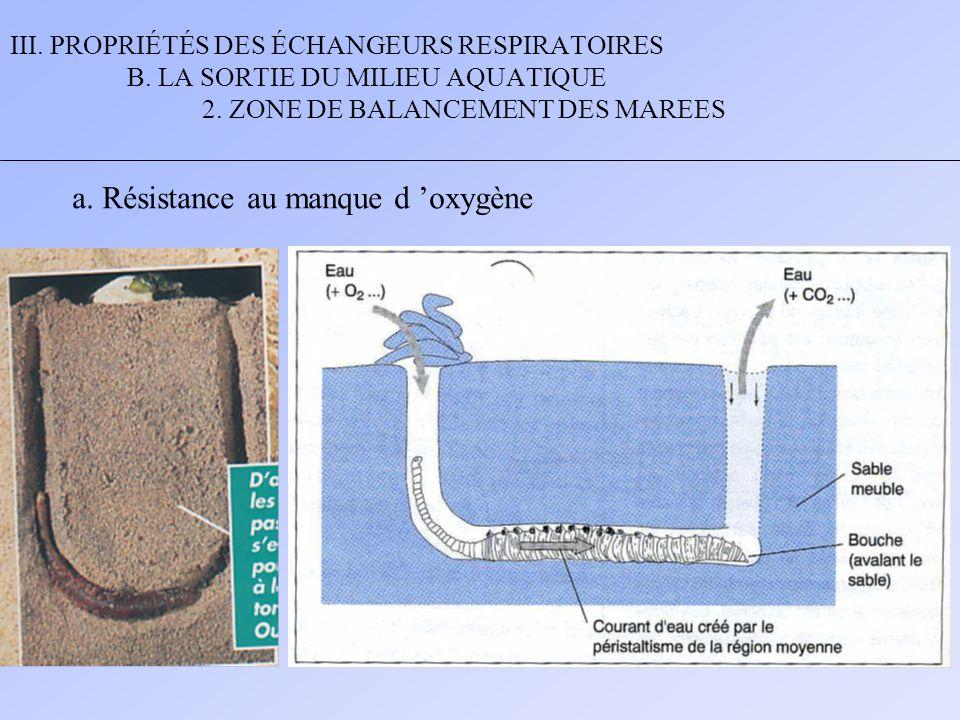 III. PROPRIÉTÉS DES ÉCHANGEURS RESPIRATOIRES B. LA SORTIE DU MILIEU AQUATIQUE 2. ZONE DE BALANCEMENT DES MAREES a. Résistance au manque d 'oxygène