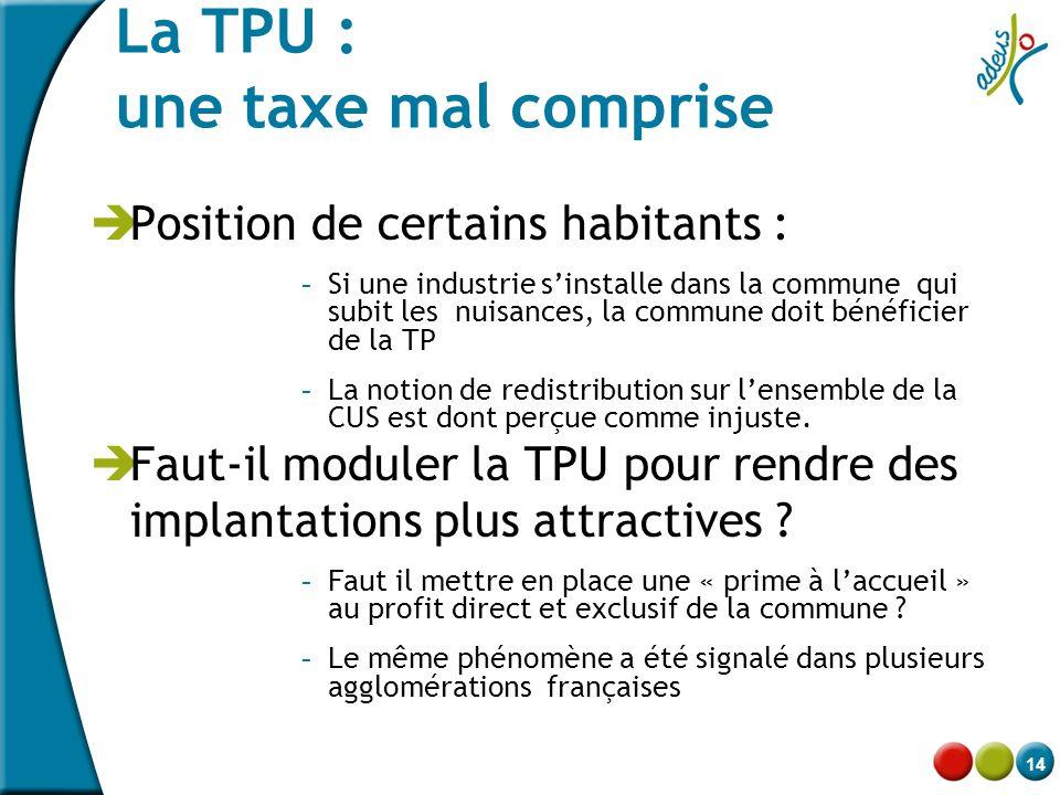 14 La TPU : une taxe mal comprise  Position de certains habitants : - Si une industrie s'installe dans la commune qui subit les nuisances, la commune