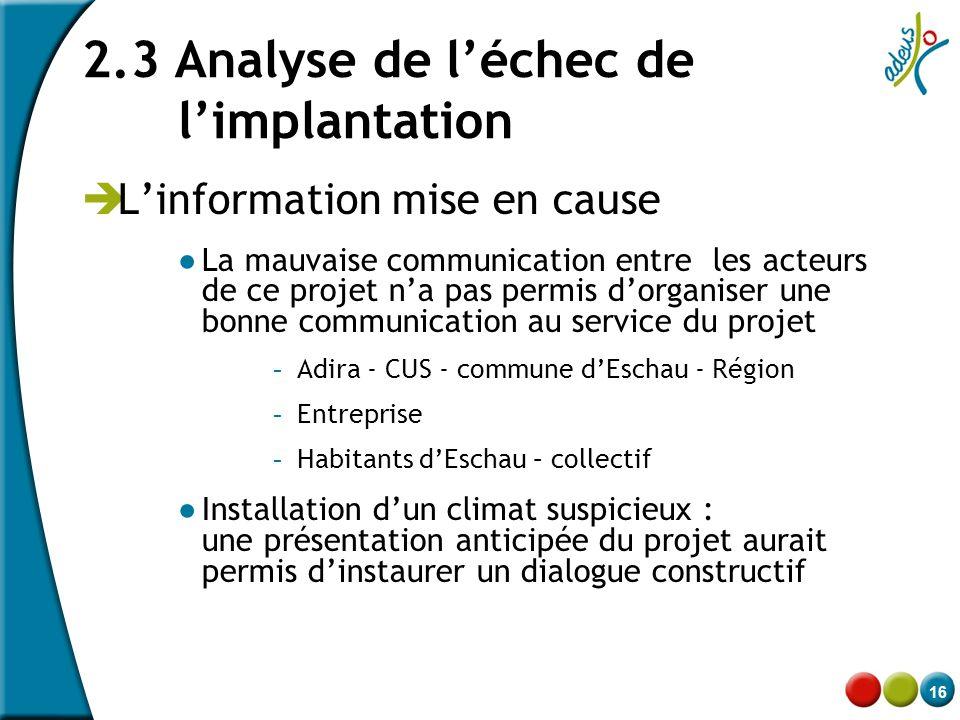 16 2.3 Analyse de l'échec de l'implantation  L'information mise en cause ● La mauvaise communication entre les acteurs de ce projet n'a pas permis d'