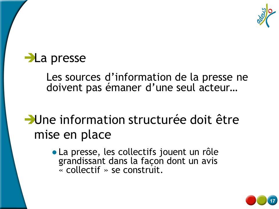 17  La presse Les sources d'information de la presse ne doivent pas émaner d'une seul acteur…  Une information structurée doit être mise en place ●