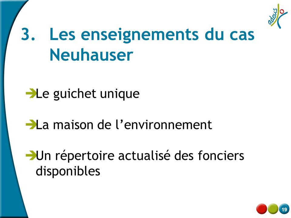19 3. Les enseignements du cas Neuhauser  Le guichet unique  La maison de l'environnement  Un répertoire actualisé des fonciers disponibles