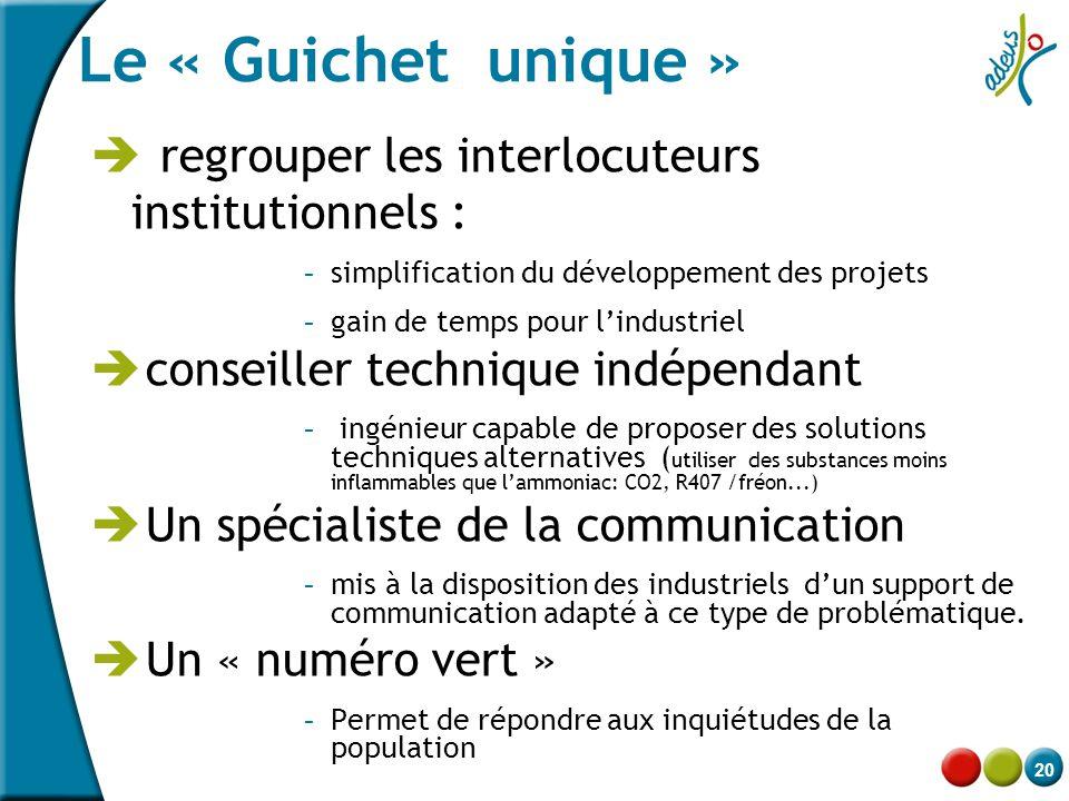 20 Le « Guichet unique »  regrouper les interlocuteurs institutionnels : - simplification du développement des projets - gain de temps pour l'industr