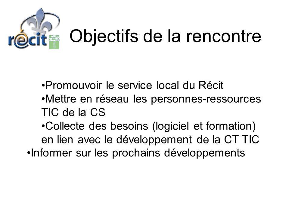 Objectifs de la rencontre •Promouvoir le service local du Récit •Mettre en réseau les personnes-ressources TIC de la CS •Collecte des besoins (logiciel et formation) en lien avec le développement de la CT TIC •Informer sur les prochains développements