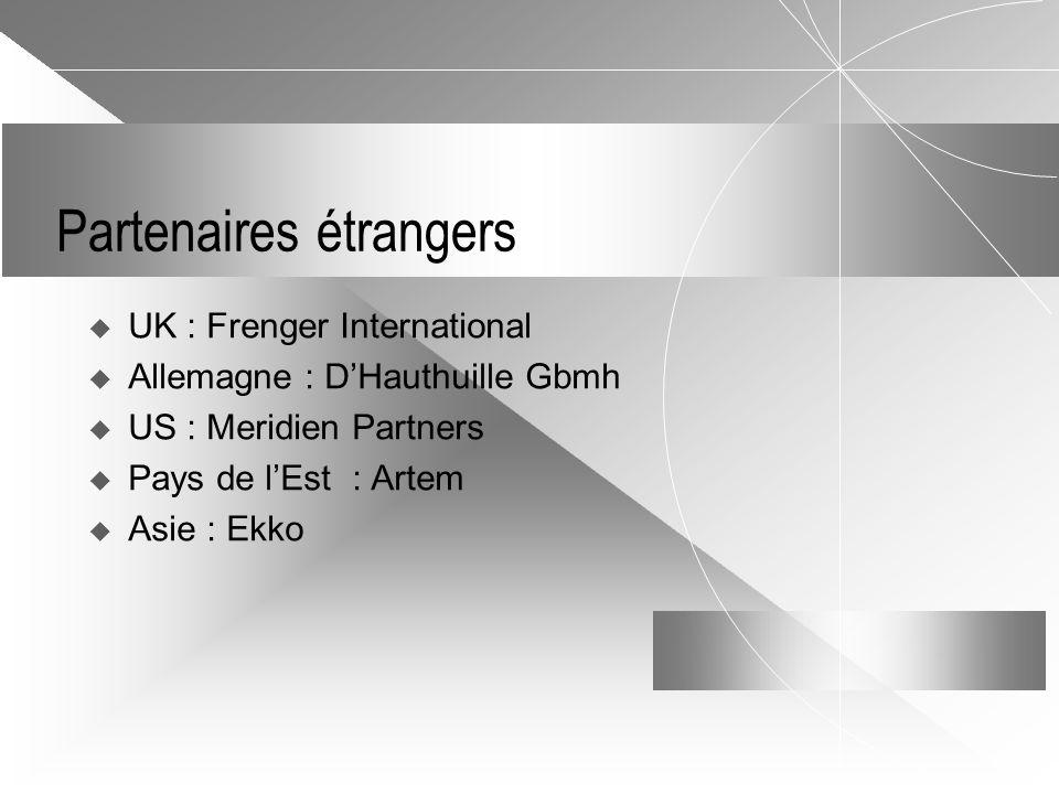 Partenaires étrangers  UK : Frenger International  Allemagne : D'Hauthuille Gbmh  US : Meridien Partners  Pays de l'Est : Artem  Asie : Ekko