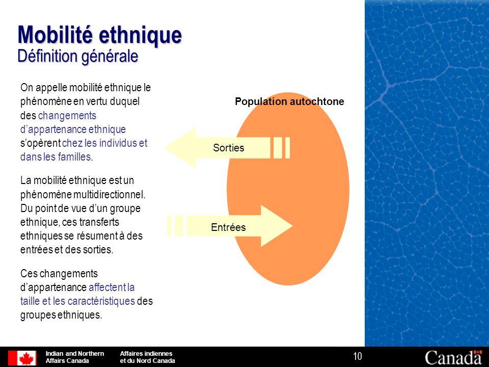 Indian and Northern Affaires indiennes Affairs Canada et du Nord Canada 10 Mobilité ethnique Définition générale On appelle mobilité ethnique le phéno