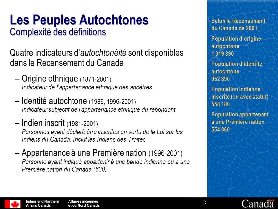 Indian and Northern Affaires indiennes Affairs Canada et du Nord Canada 4 Les Peuples Autochtones Complexité des définitions Intuitivement, on serait porté à croire qu'il existe une « structure hiérarchique » à ces concepts d'autochtonéité : la population indienne inscrite pourrait être un sous-ensemble de la population d'identité autochtone, qui pourrait à son tour être un sous-ensemble de la population d'origine autochtone.